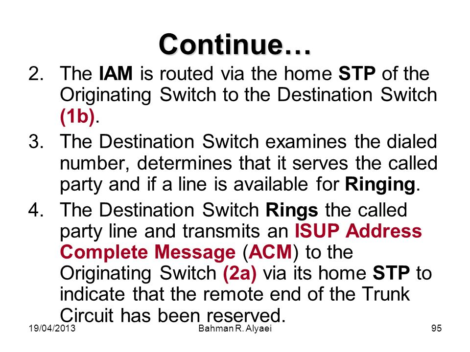 Continue… The IAM is routed via the home STP of the Originating Switch to the Destination Switch (1b).