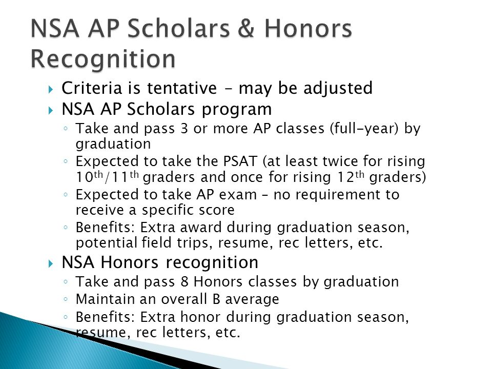 NSA AP Scholars & Honors Recognition