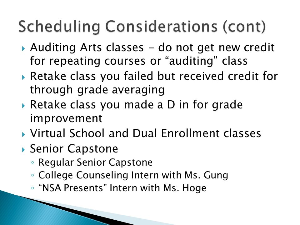 Scheduling Considerations (cont)