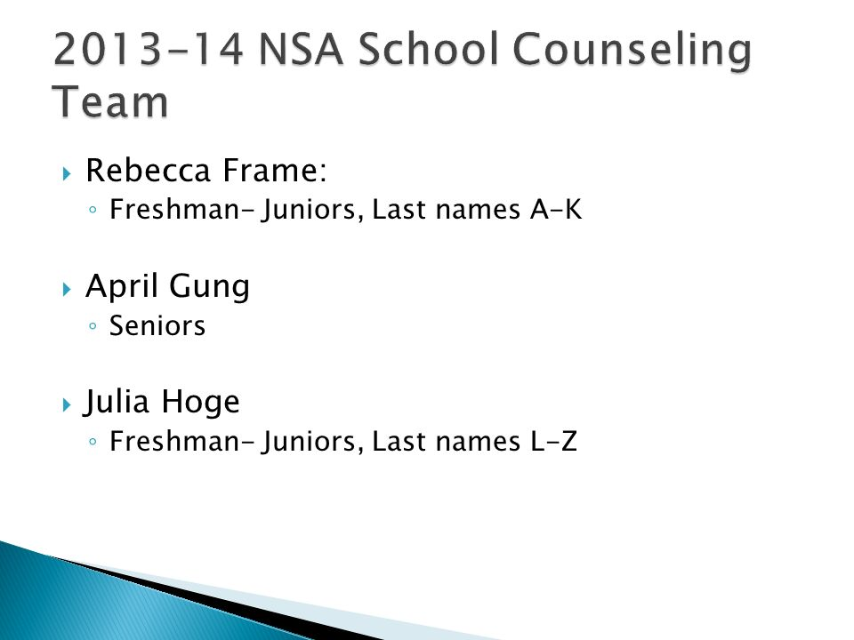 2013-14 NSA School Counseling Team