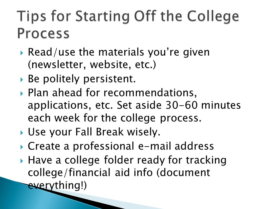 Tips for Starting Off the College Process