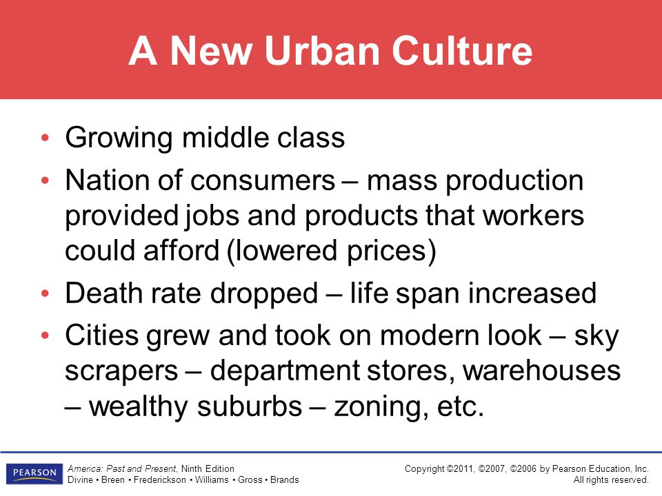 A New Urban Culture Growing middle class