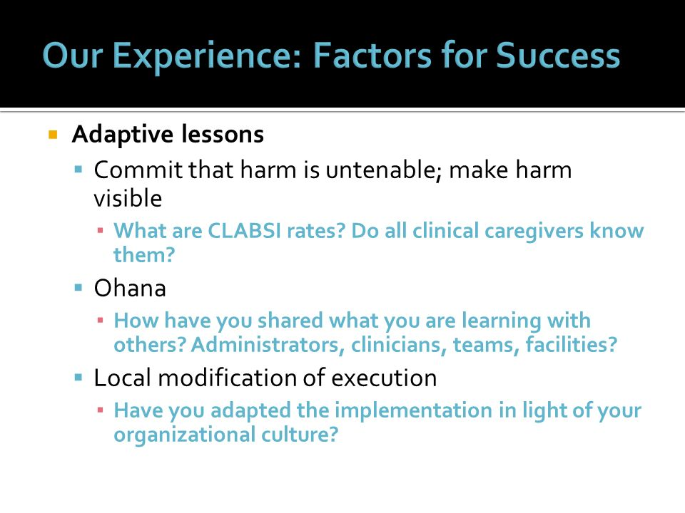 Our Experience: Factors for Success