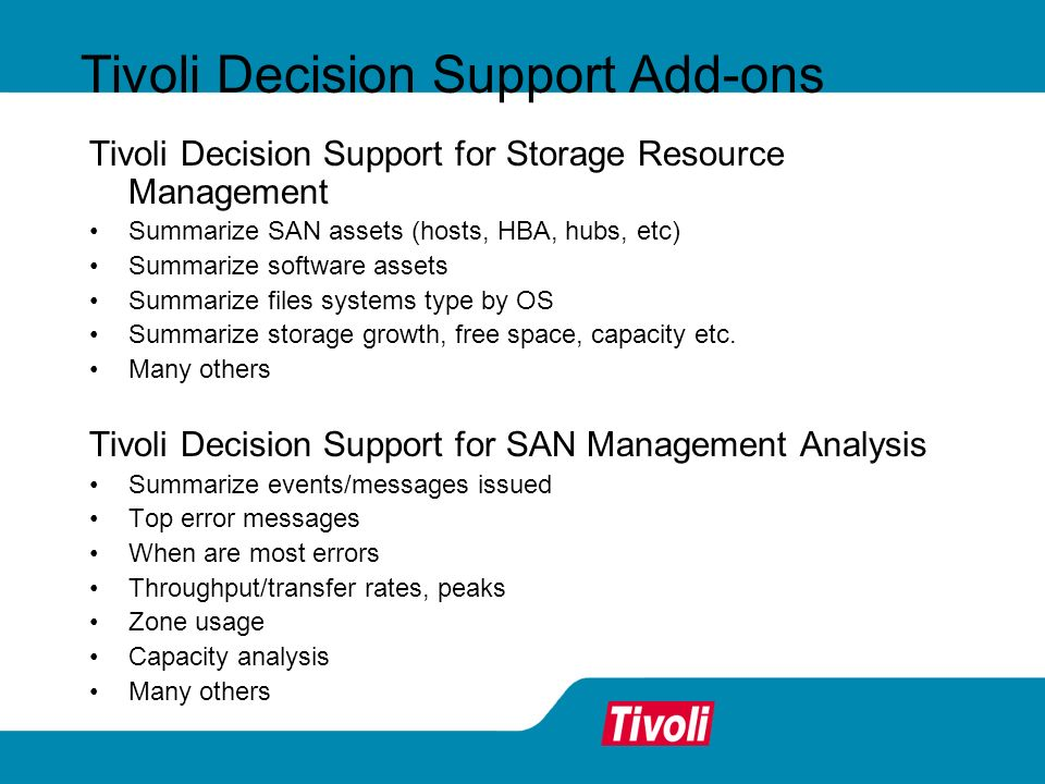 Tivoli Decision Support Add-ons