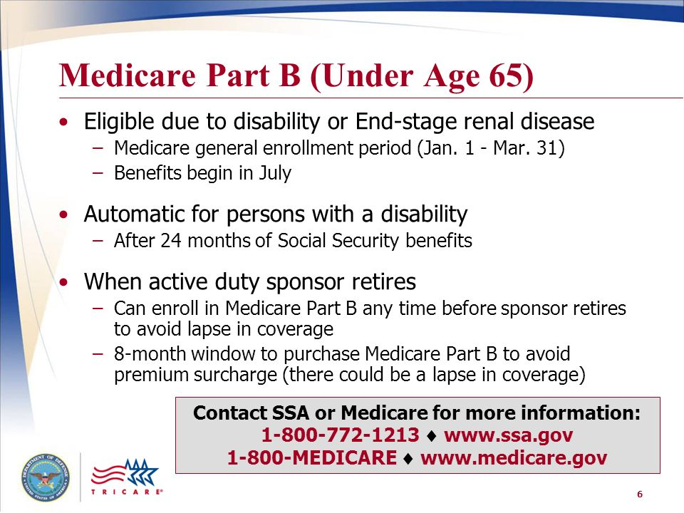 Medicare Part B (Under Age 65)