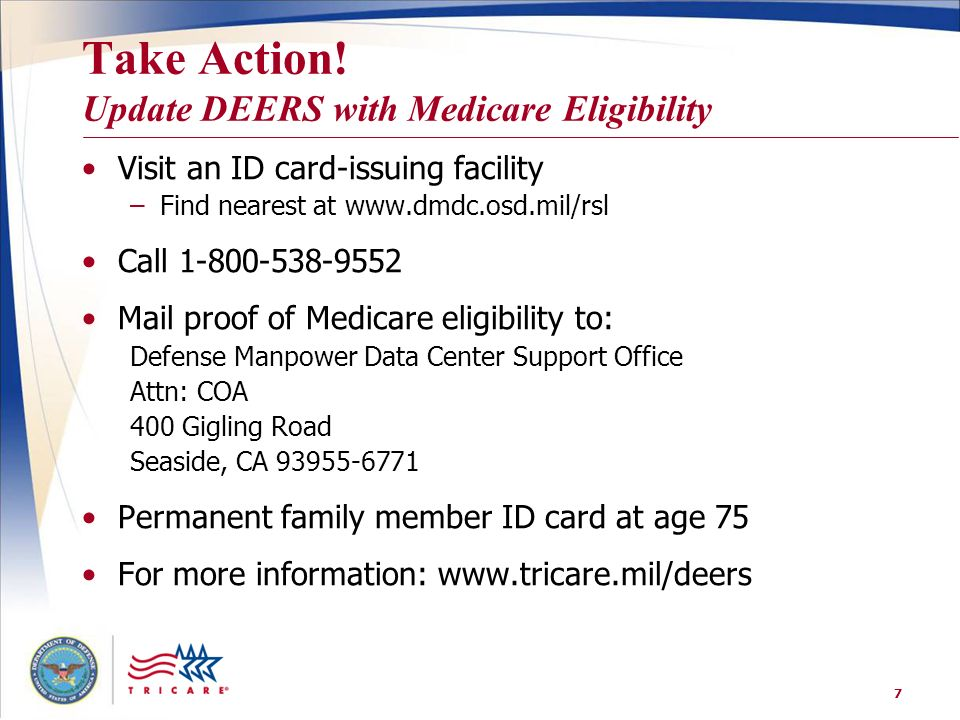 Take Action! Update DEERS with Medicare Eligibility