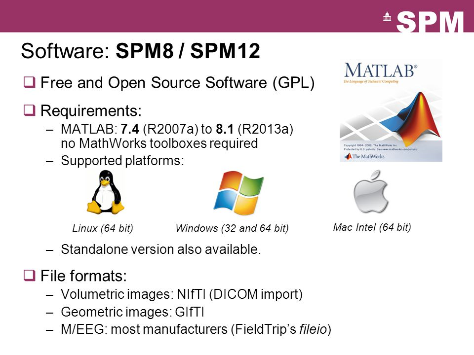Software: SPM8 / SPM12 Free and Open Source Software (GPL)