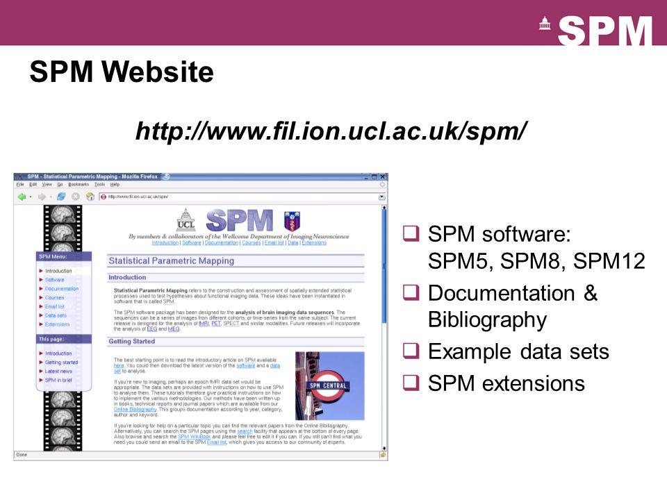 SPM Website http://www.fil.ion.ucl.ac.uk/spm/