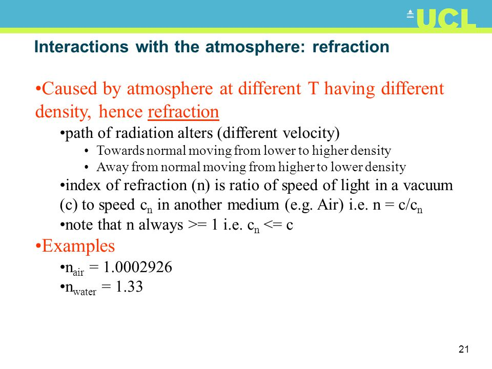 Interactions with the atmosphere: refraction