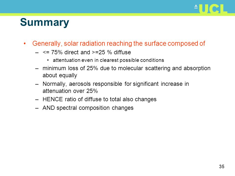 Summary Generally, solar radiation reaching the surface composed of