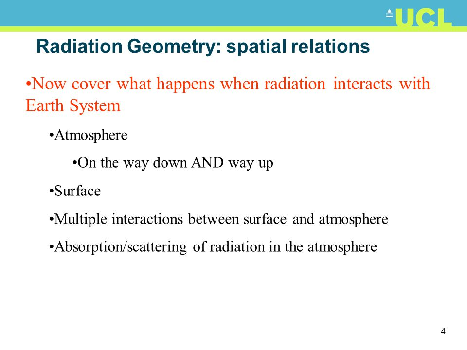 Radiation Geometry: spatial relations