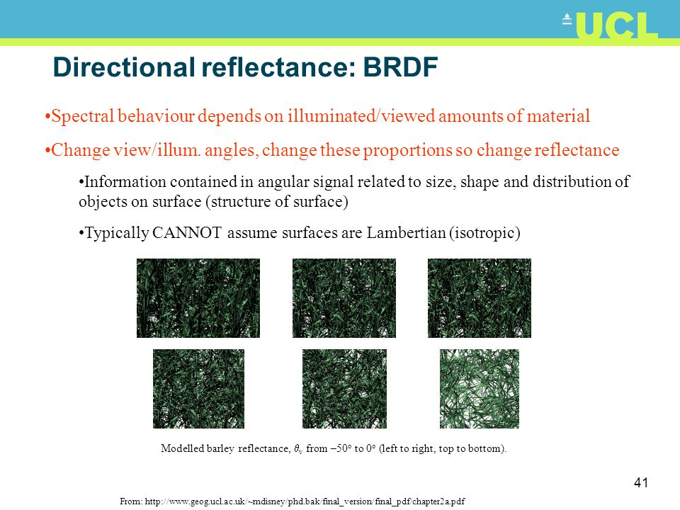 Directional reflectance: BRDF