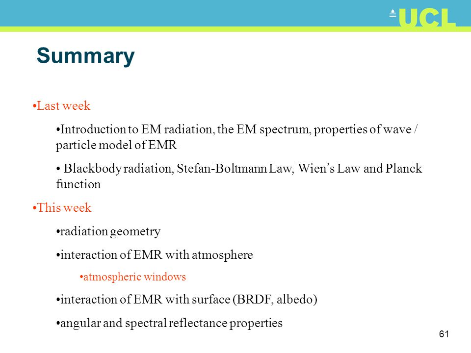 Summary Last week. Introduction to EM radiation, the EM spectrum, properties of wave / particle model of EMR.