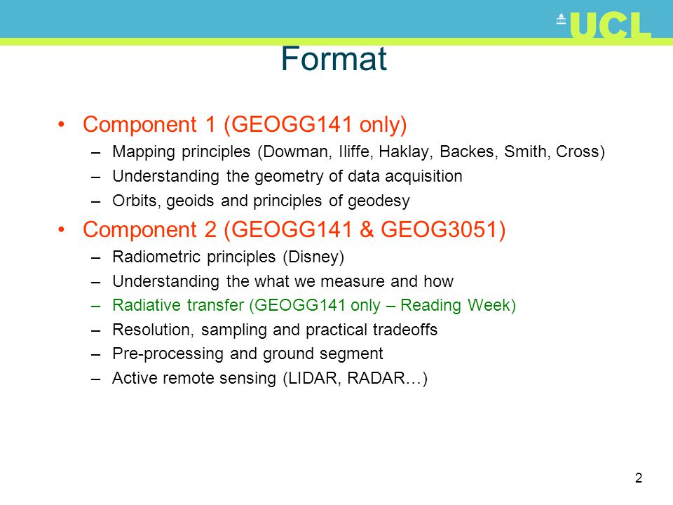 Format Component 1 (GEOGG141 only) Component 2 (GEOGG141 & GEOG3051)
