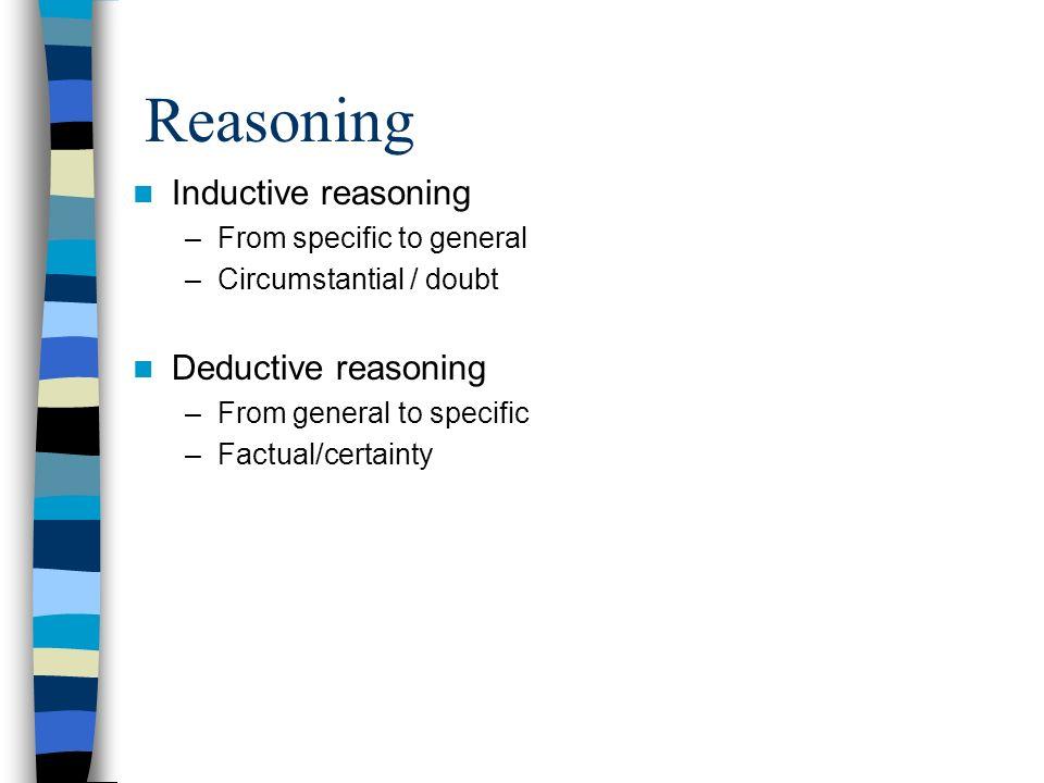 Reasoning Inductive reasoning Deductive reasoning