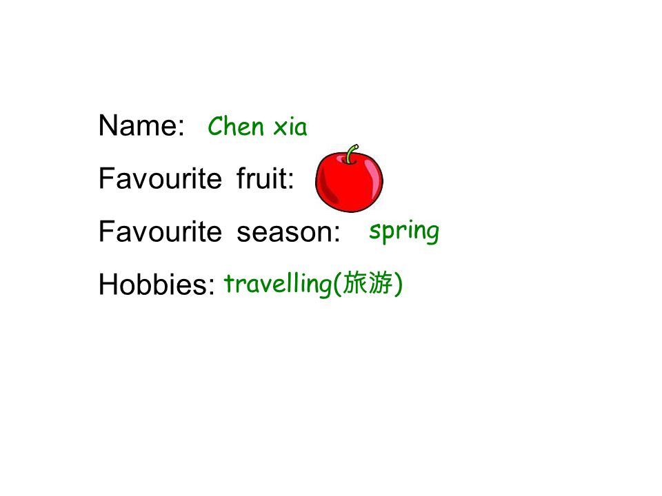 Name: Favourite fruit: Favourite season: Hobbies: Chen xia spring