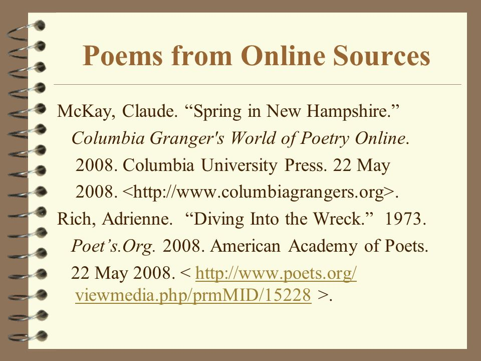 Poems from Online Sources