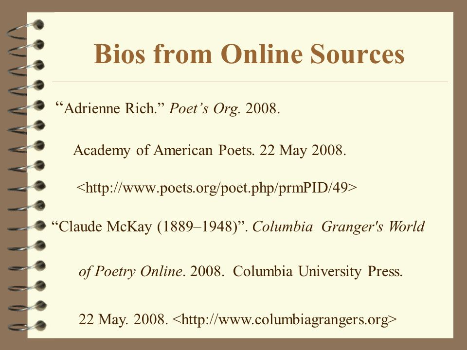Bios from Online Sources
