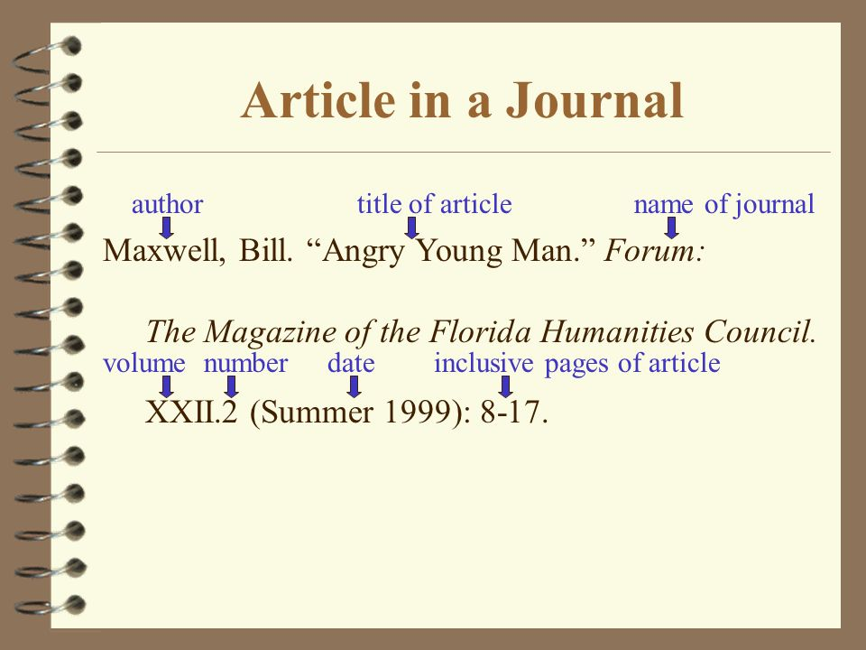 Article in a Journal Maxwell, Bill. Angry Young Man. Forum: