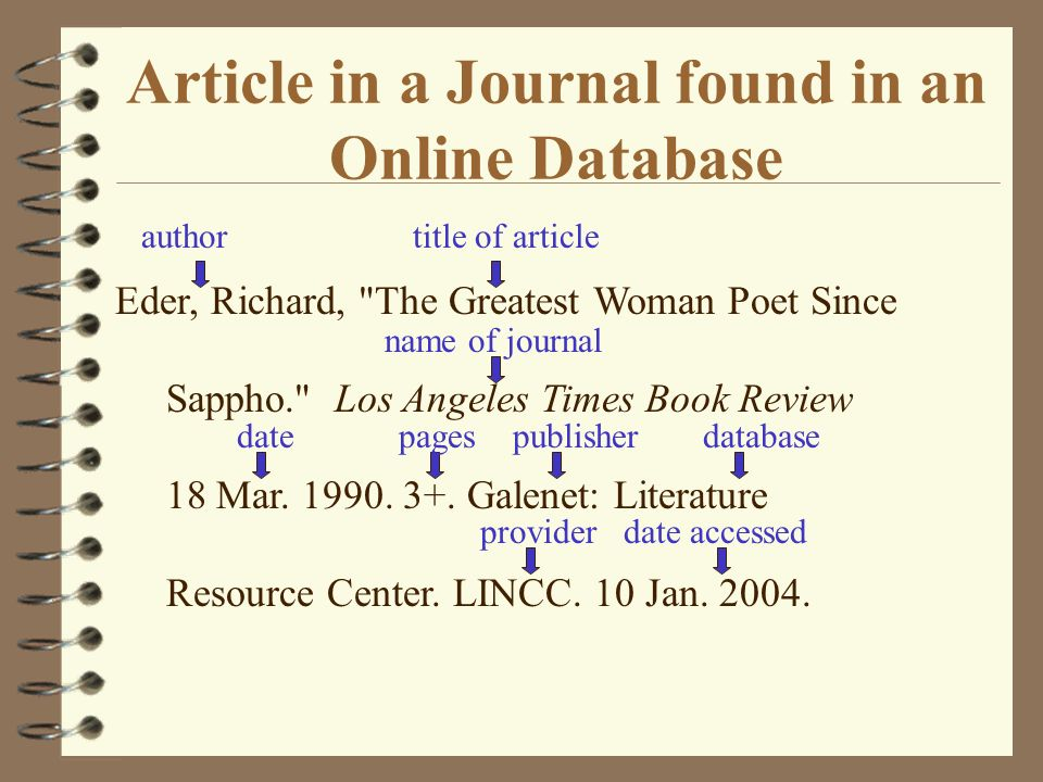 Article in a Journal found in an Online Database