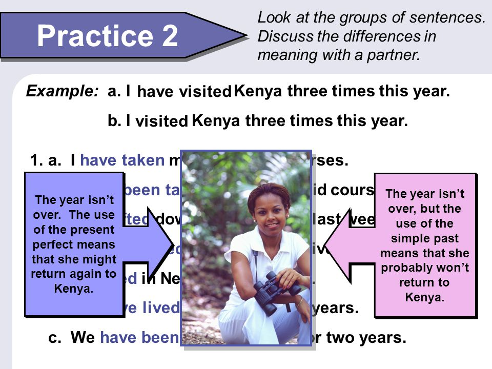 Practice 2 Example: I have visited Kenya three times this year.