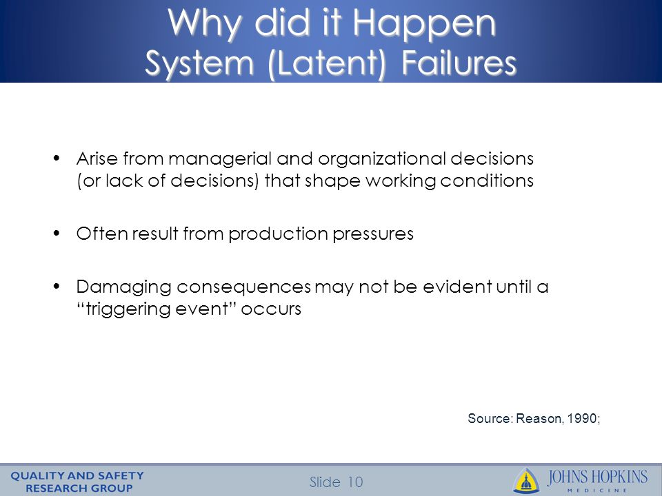 Why did it Happen System (Latent) Failures