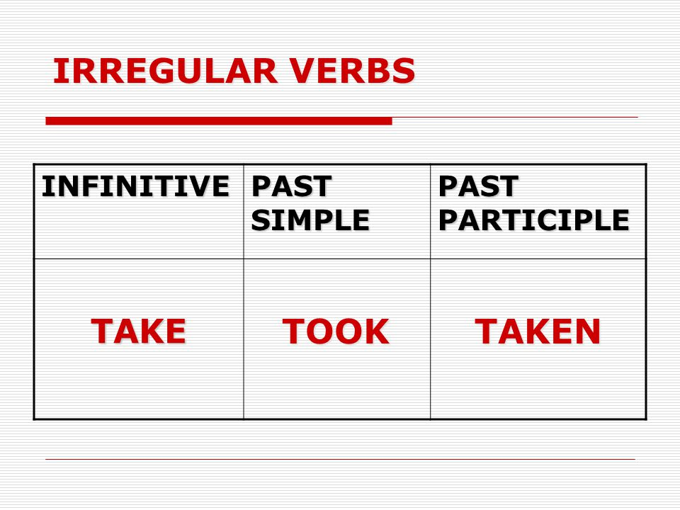 IRREGULAR VERBS INFINITIVE PAST SIMPLE PAST PARTICIPLE TAKE TOOK TAKEN
