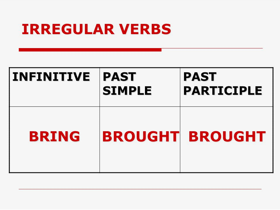 IRREGULAR VERBS BROUGHT BROUGHT BRING INFINITIVE PAST SIMPLE