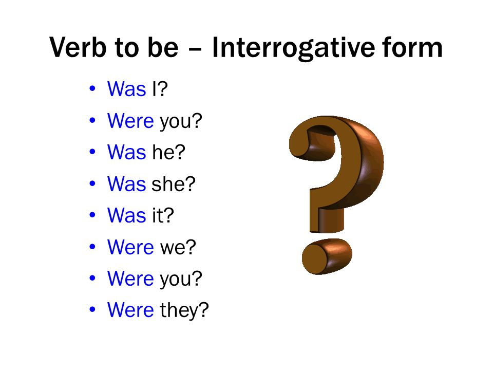 Verb to be – Interrogative form