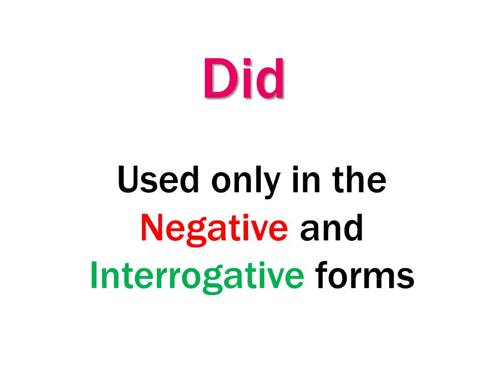Used only in the Negative and Interrogative forms