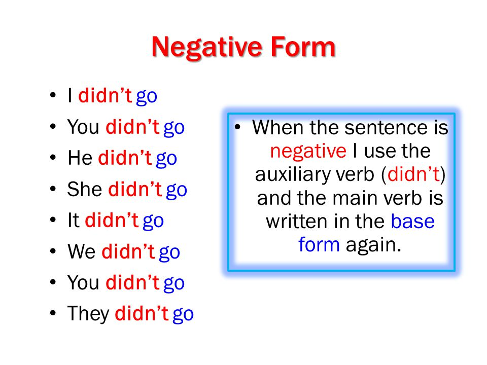 Negative Form I didn't go You didn't go He didn't go