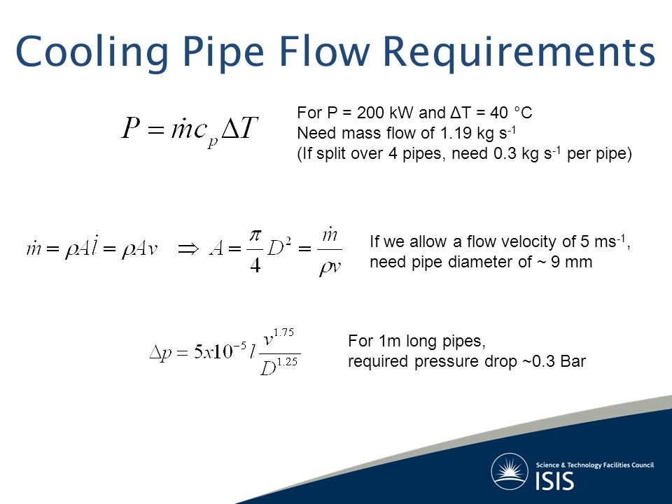 Cooling Pipe Flow Requirements