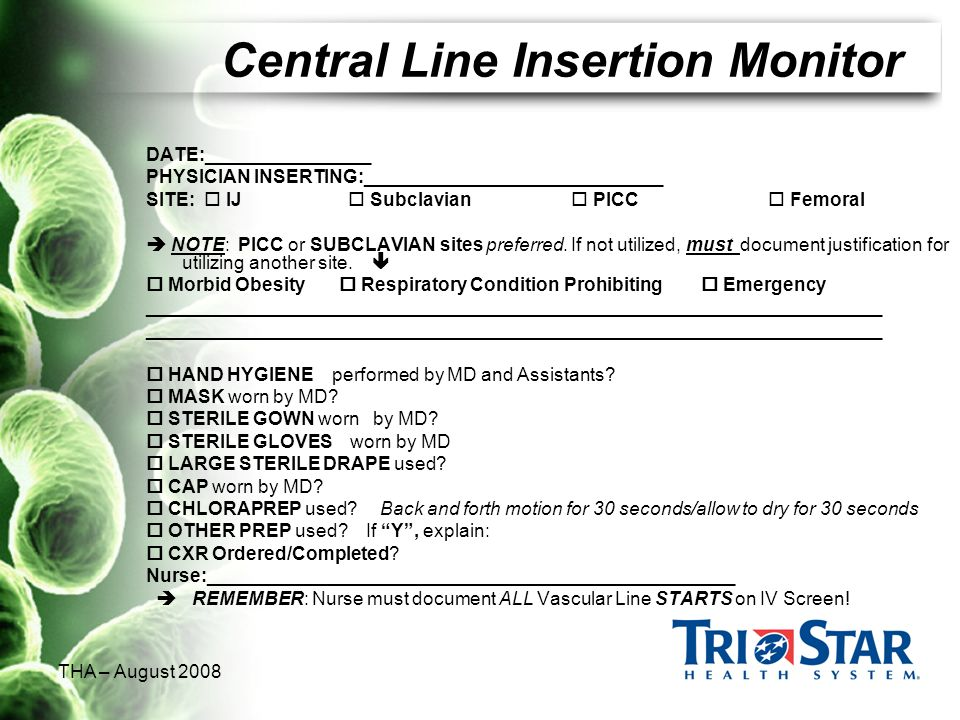 Central Line Insertion Monitor