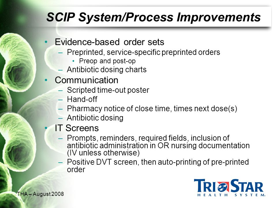SCIP System/Process Improvements