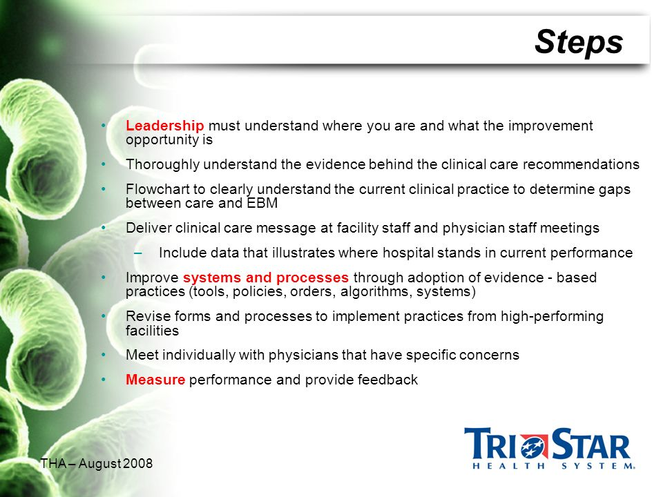 Steps Leadership must understand where you are and what the improvement opportunity is.