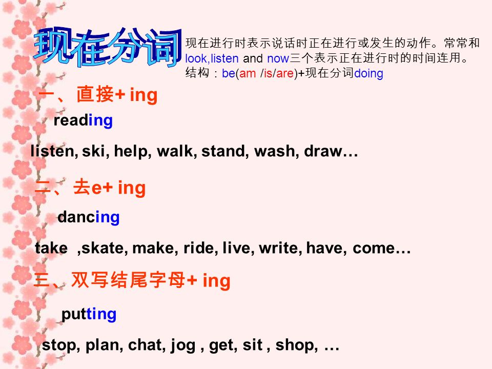 现在分词 一、直接+ ing 二、去e+ ing 三、双写结尾字母+ ing reading