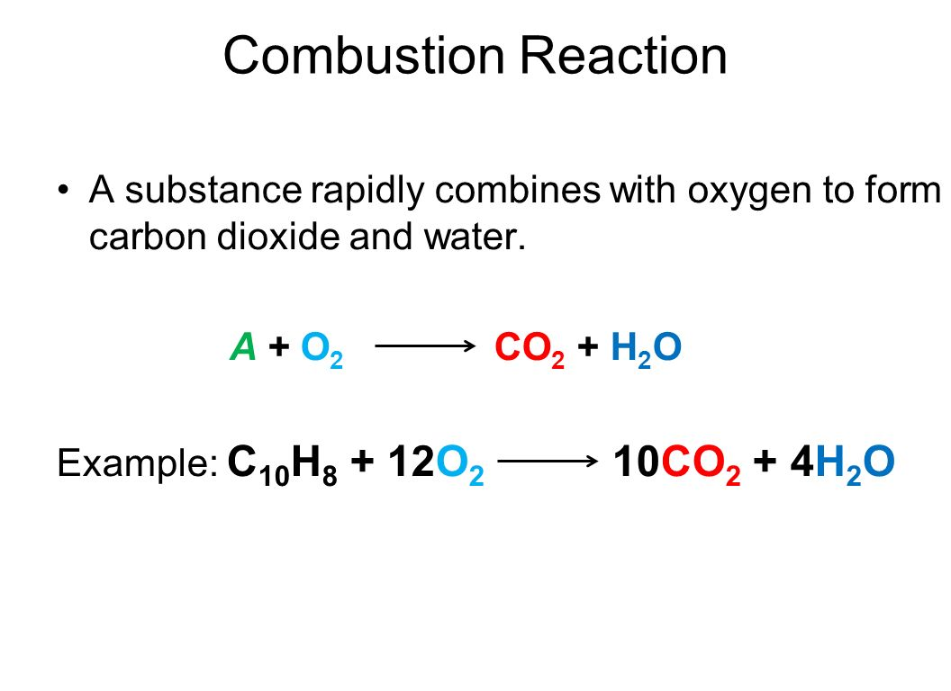 Combustion Reaction A substance rapidly combines with oxygen to form carbon dioxide and water. A + O2 CO2 + H2O.