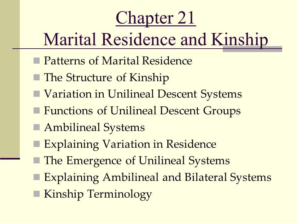 Chapter 21 Marital Residence and Kinship