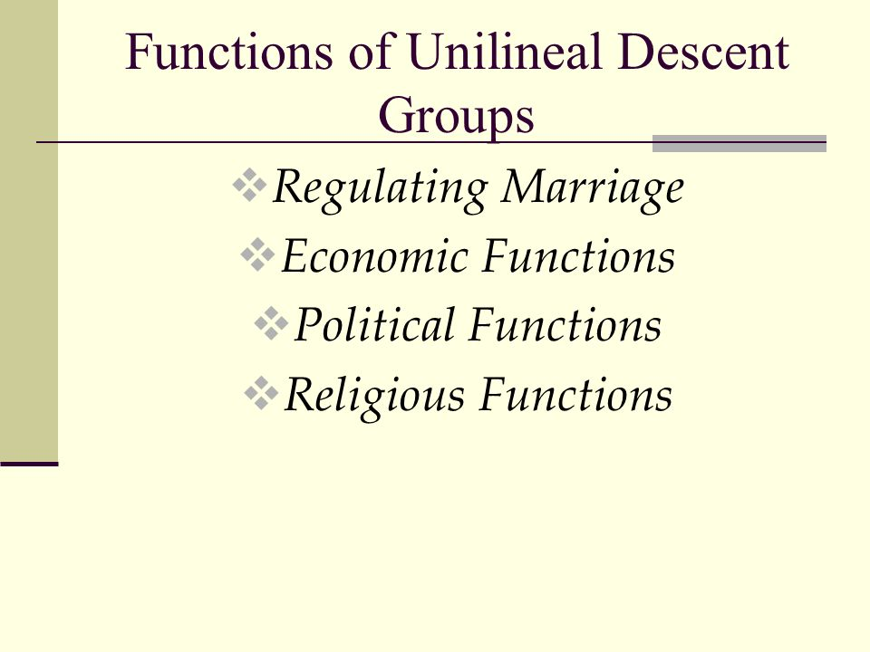 Functions of Unilineal Descent Groups