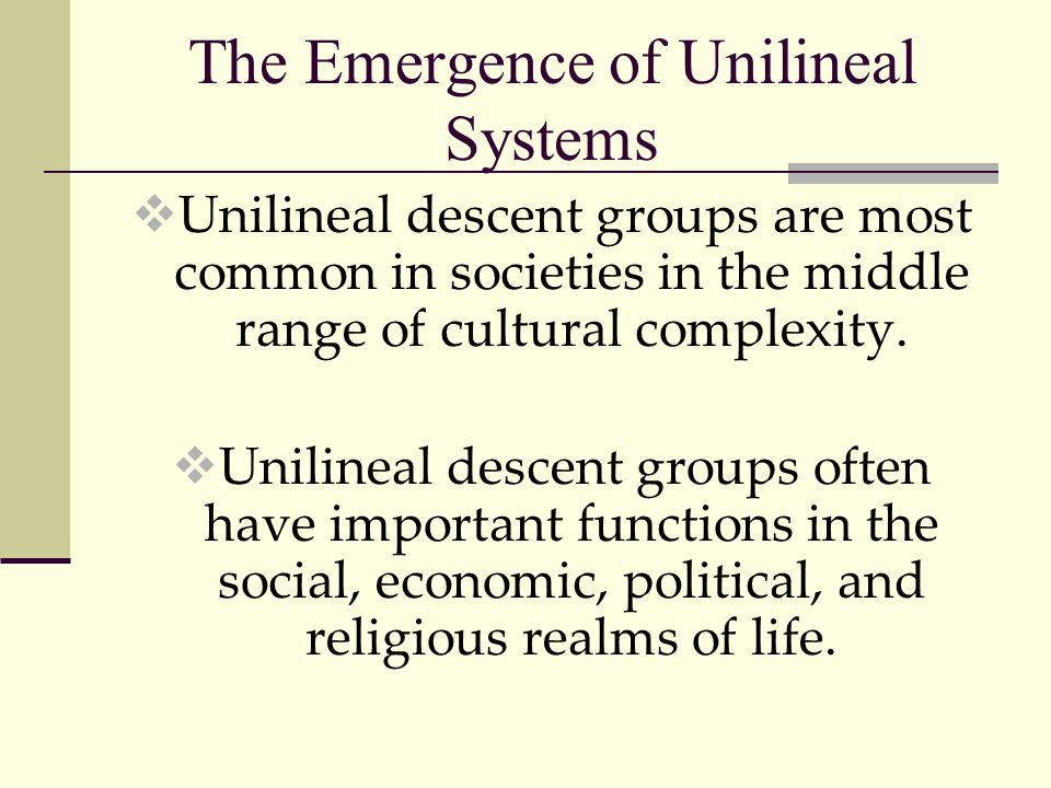 The Emergence of Unilineal Systems
