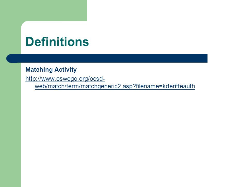 Definitions Matching Activity