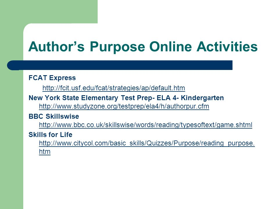 Author's Purpose Online Activities