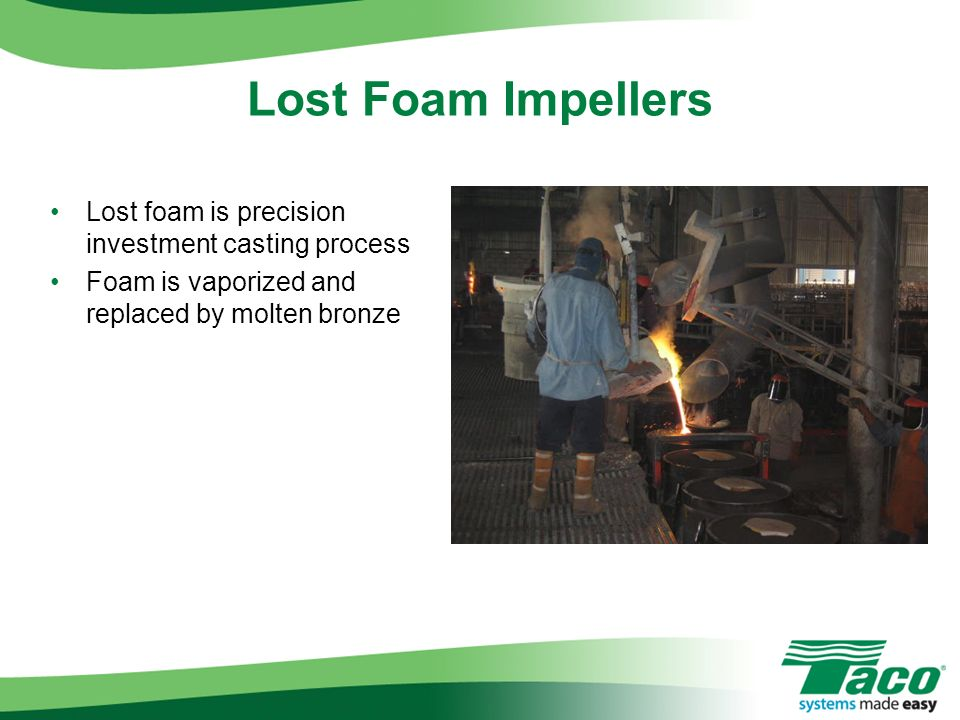 Lost Foam Impellers Lost foam is precision investment casting process
