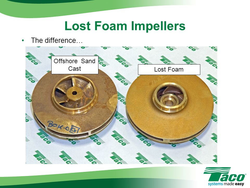 Lost Foam Impellers The difference… Offshore Sand Cast Lost Foam