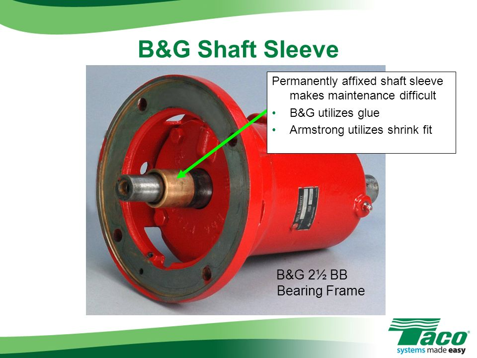B&G Shaft Sleeve B&G 2½ BB Bearing Frame