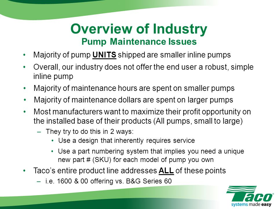 Pump Maintenance Issues