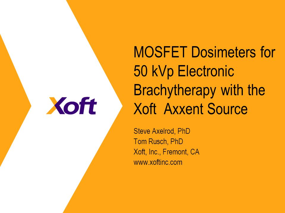 MOSFET Dosimeters for 50 kVp Electronic Brachytherapy with the Xoft Axxent Source