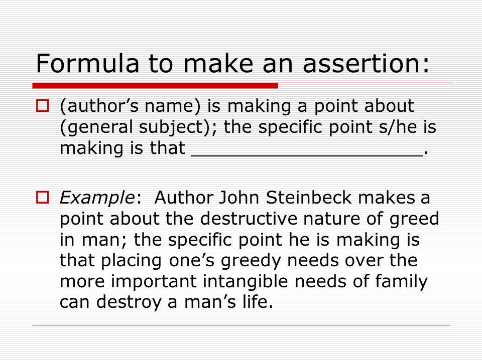 Formula to make an assertion: