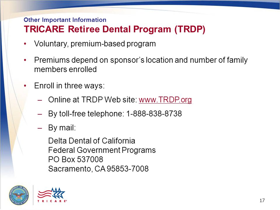 TRICARE Retiree Dental Program (TRDP)