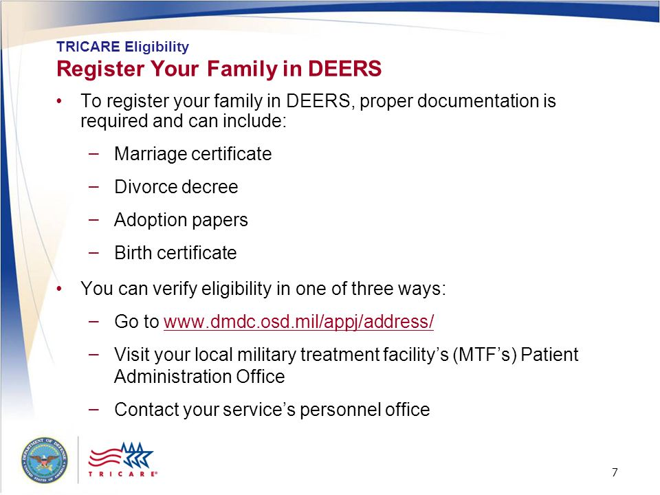 Register Your Family in DEERS